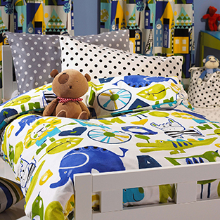 Use bold fabric to brighten up your child's room