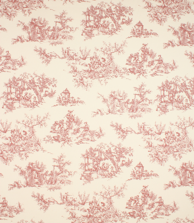 Toile de jouy Fabric / Red | Just Fabrics