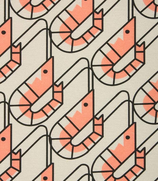 Prancing Prawns Outdoor Fabric / Coral