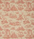 French Toile Linen Fabric / Red