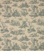 French Toile Linen Fabric / Indigo