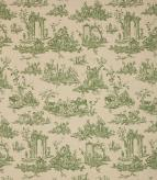 French Toile Linen / Sap Green Fabric
