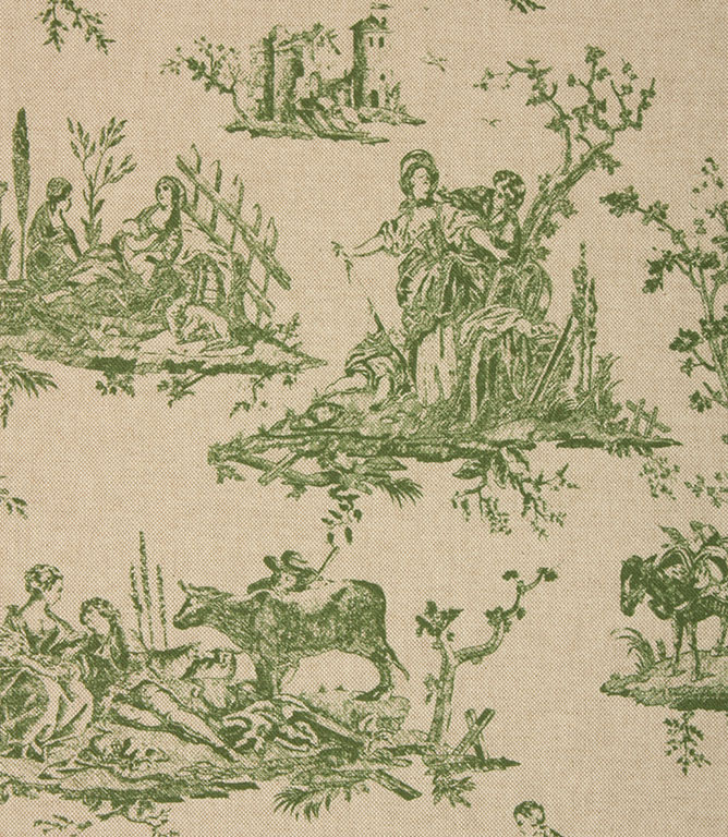 French Toile Linen Fabric / Sap Green