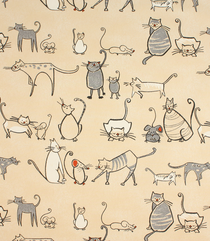 Cat & Mouse Fabric / Charcoal | Just Fabrics
