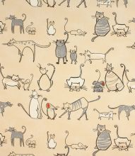 Made to Measure Cat & Mouse Fabric / Charcoal