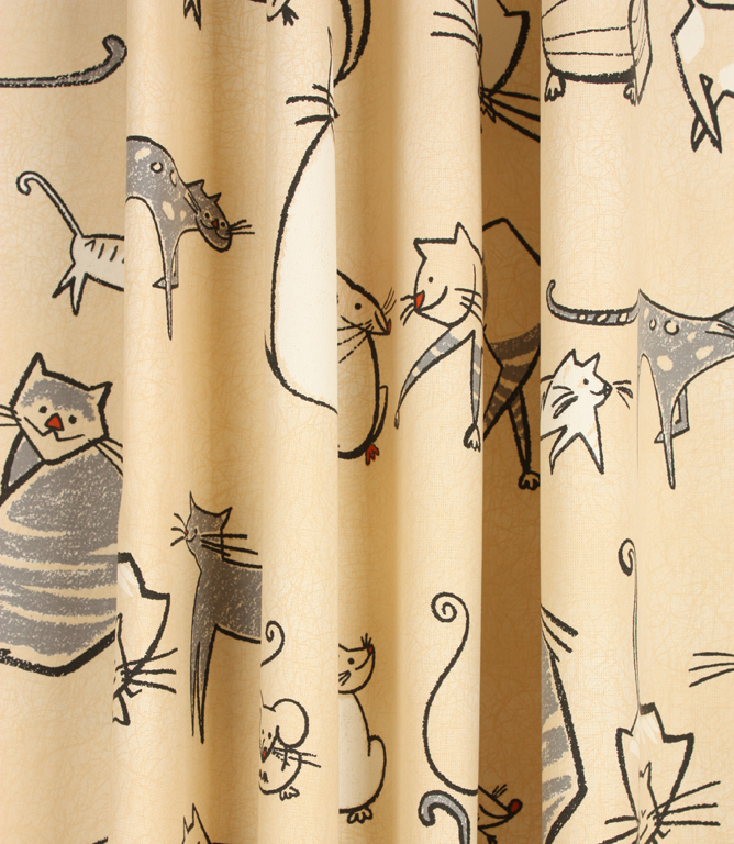 Cat & Mouse Fabric / Charcoal