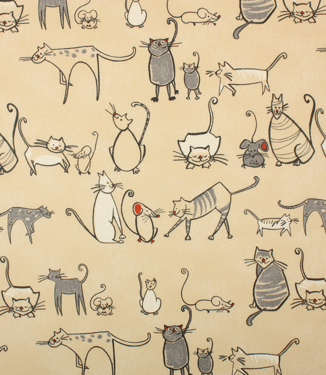 PVC Cat & Mouse Fabric / Charcoal