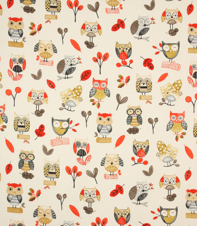 Ollie Owl Fabric / Red
