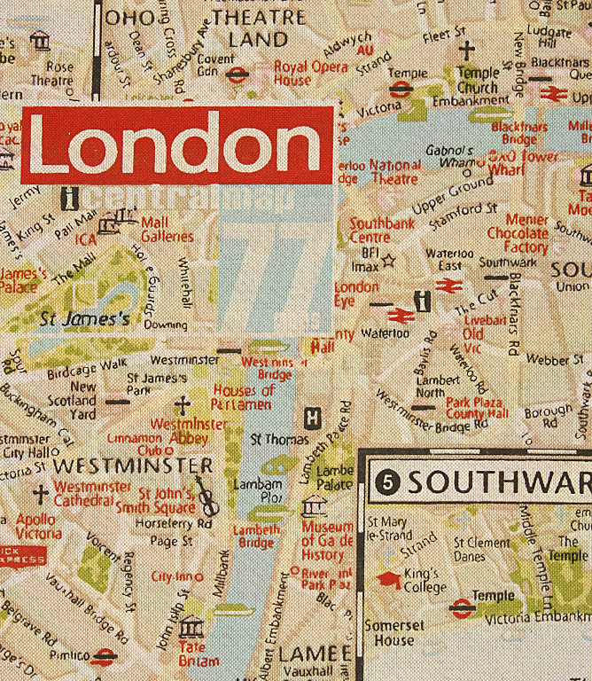 Red London Map Fabric