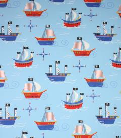 Pirates Ship Fabric / Blue