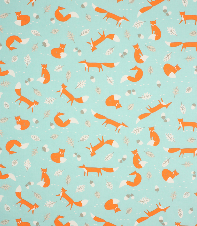 Mr Fox Fabric Duck Egg Just Fabrics