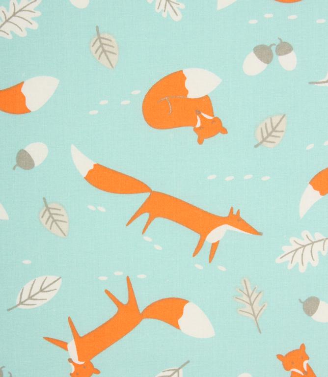 Mr Fox Fabric Duck Egg Just Fabrics