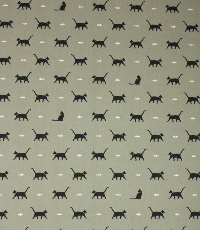 Sophie Allport Cat Fabric / Sage