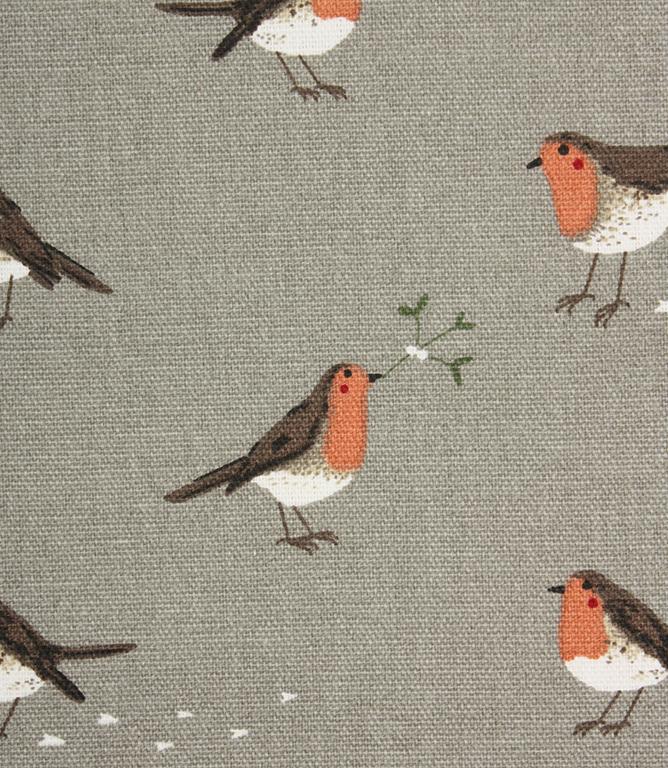 Sophie Allport Robin Amp Mistletoe Fabric Grey Just Fabrics