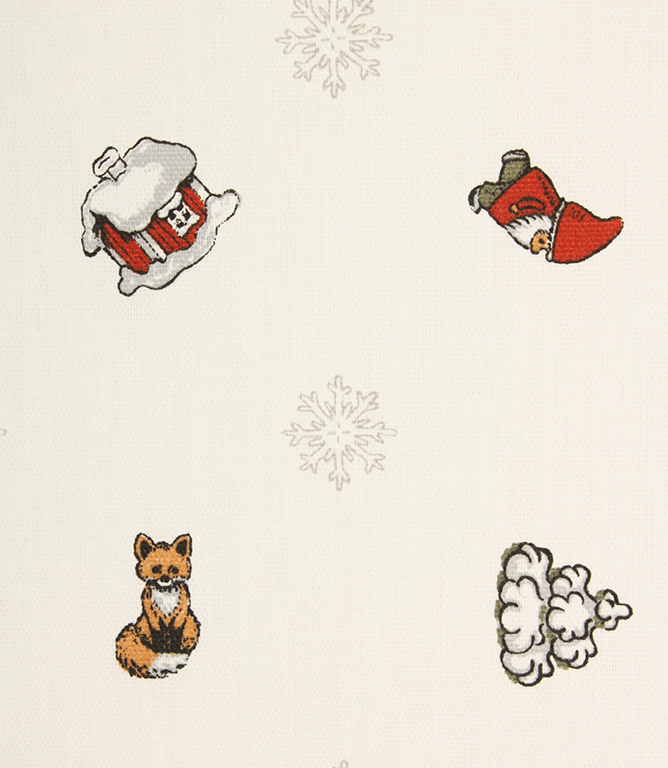 Miniature Christmas Fabric / White