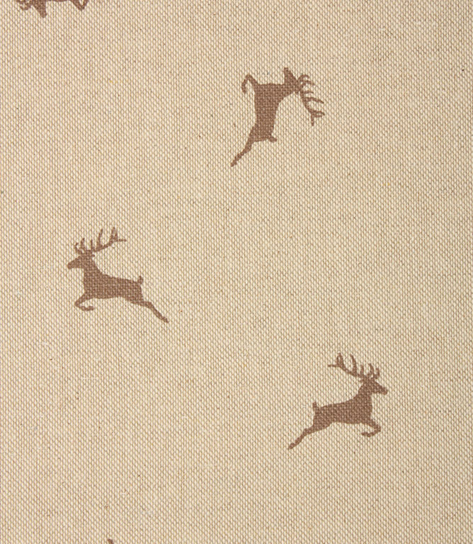 Xmas Stags Fabric / Brown