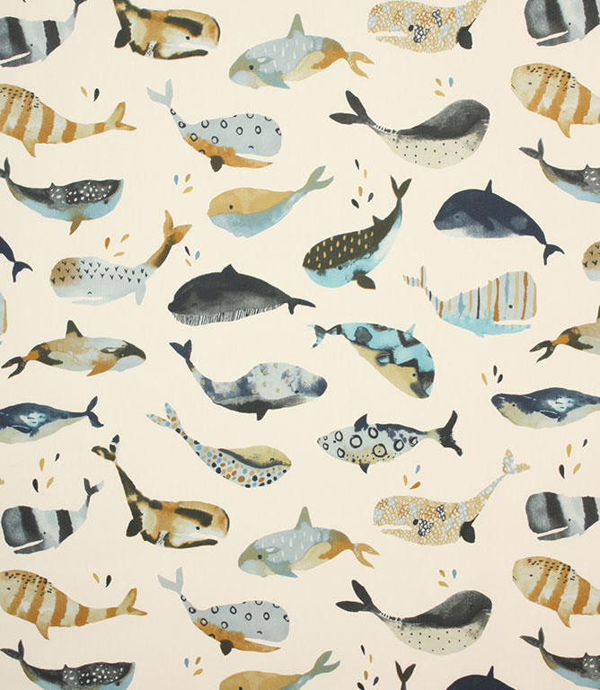 Whale Watching Fabric / Antique