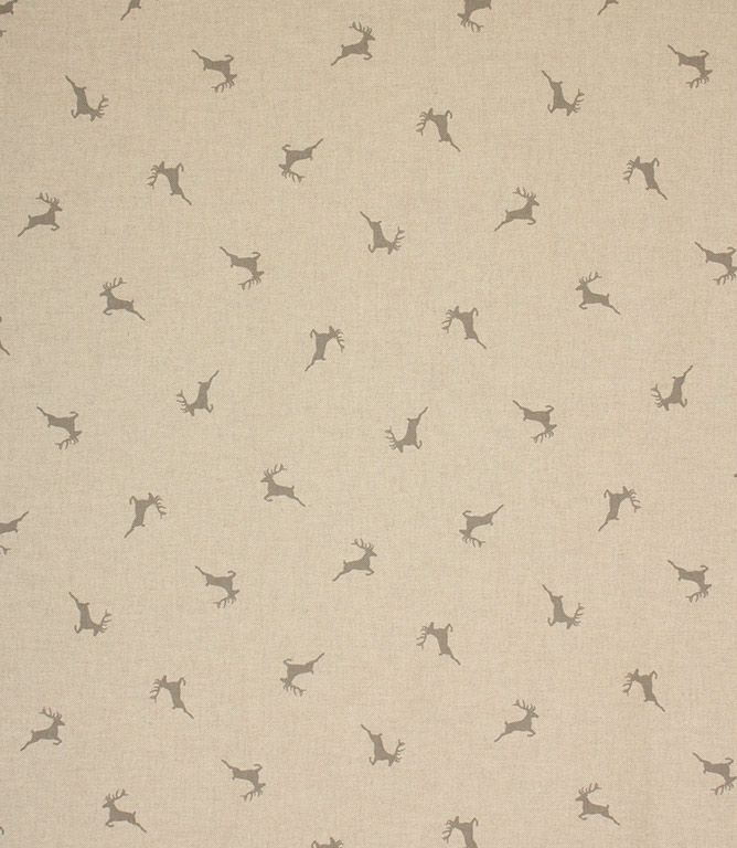 Xmas Stags Fabric / Grey