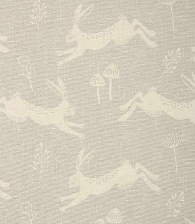 Hopping Hares Fabric / Silver