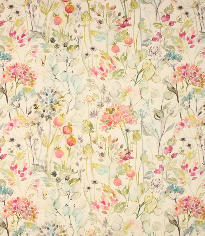 Coral linen Country Hedgerow Fabric