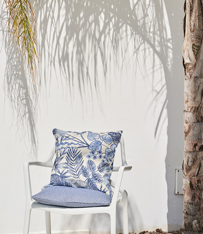 Indigo Botanical Outdoor Fabric Remnant