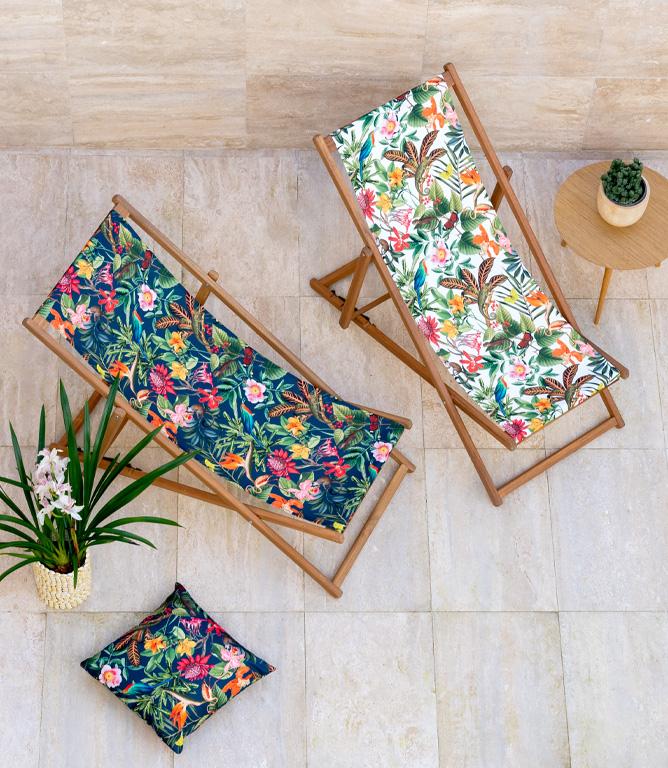Lima Jungle Outdoor Fabric / White