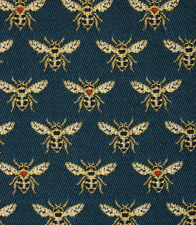 Vespa Bees Fabric / Gold / Peacock