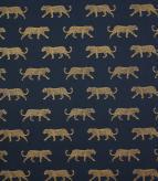 Big Cat / Indigo / Gold Fabric