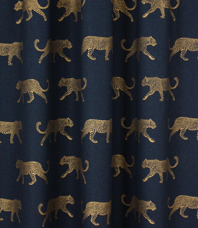 Big Cat Fabric / Indigo / Gold