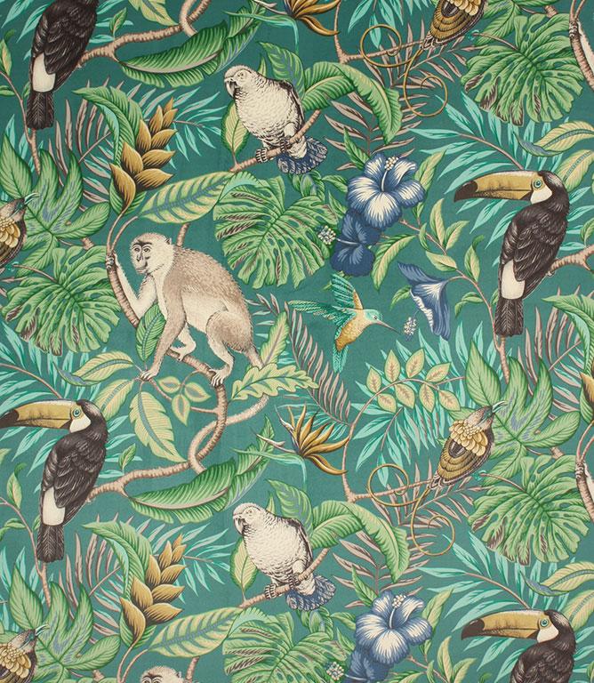 Rainforest Velvet Fabric / Lagoon