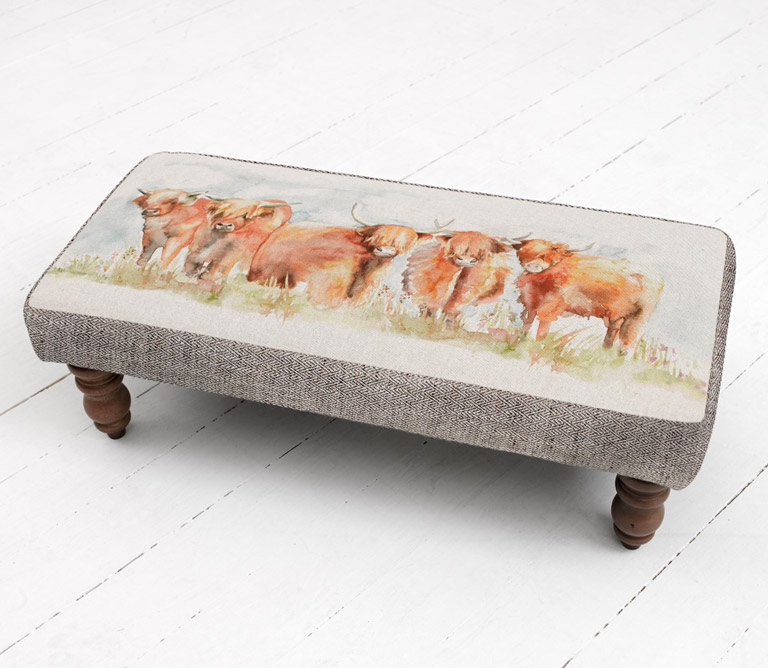 Footstools & Ottomans - Highland Cattle Mya Footstool