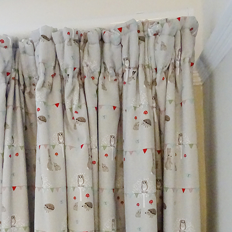 Woodland Party Fabric By Sophie Allport Has A Delicate Pattern Of Bunting And Animals Throughout